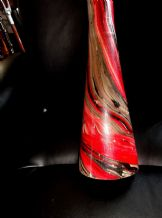 VINTAGE FAB RETRO HANDPAINTED RED GREY BLACK DIDGERIDOO WIND INSTRUMENT